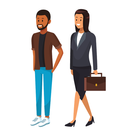 business couple teamwork avatar briefcase vector illustration graphic design Illustration