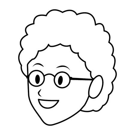 old woman only face profile glasses vector illustration graphic design Ilustração Vetorial