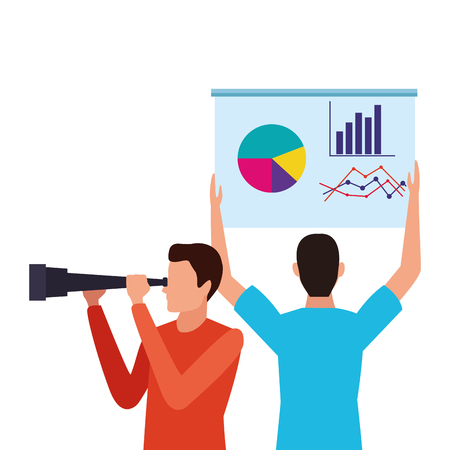La gente de negocios y el elemento telescopio y el diagrama de datos ilustración vectorial diseño gráfico