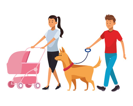 Paar mit Baby- und Hundefamilienwagen-Vektorillustrationsgrafikdesign Vektorgrafik