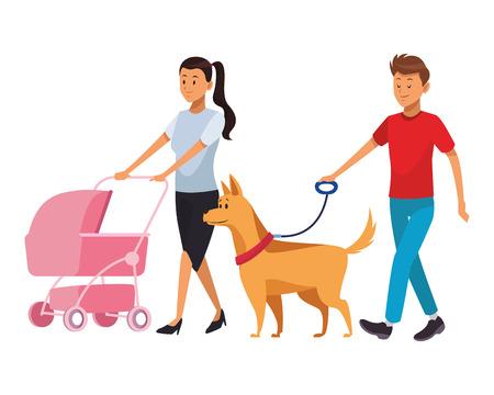 Pareja con bebé y perro carro familiar ilustración vectorial diseño gráfico Ilustración de vector