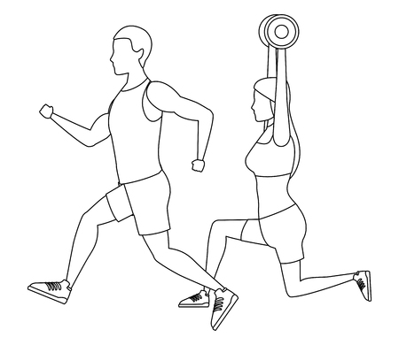 Pareja trabajando avatares peso ilustración vectorial diseño gráfico
