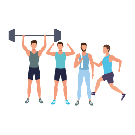 men working out avatars weight vector illustration graphic design