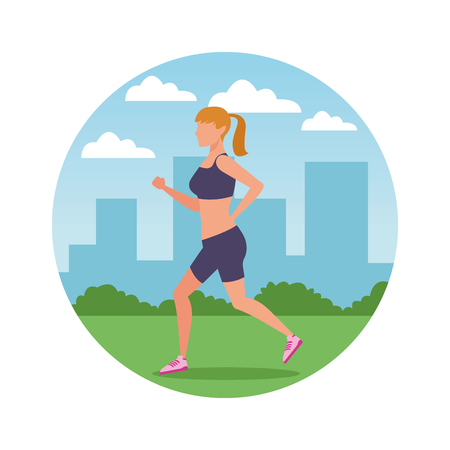 woman working out avatar in the park and cityscape round icon vector illustration graphic design