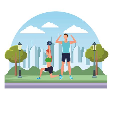 Pareja trabajando avatares peso en el parque y paisaje urbano ilustración vectorial diseño gráfico