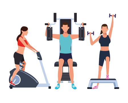 Grupo de personas que trabajan en el gimnasio con máquinas de diseño gráfico de ilustración vectorial