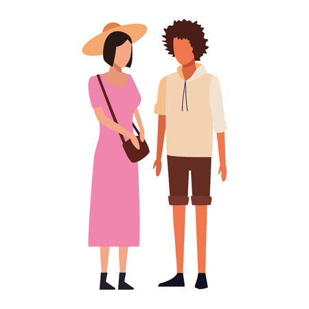 casual people couple cartoon vector illustration graphic design