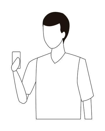 young man upper body cartoon vector illustration graphic design Çizim