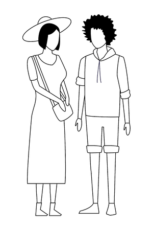 casual people couple cartoon vector illustration graphic design