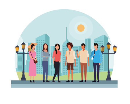 casual people in front city landscape cartoon vector illustration graphic design