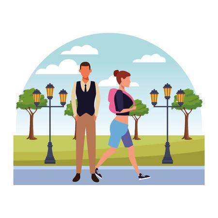 love couple at nature park cartoon vector illustration graphic design Ilustración de vector