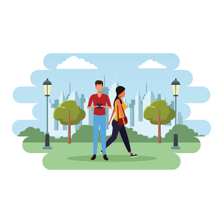 love couple with technology device at nature park cartoon vector illustration graphic design Ilustración de vector