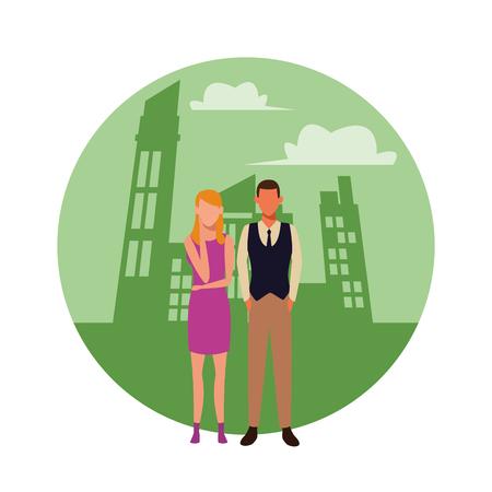 love couple cartoon in front buildings landscape vector illustration graphic design