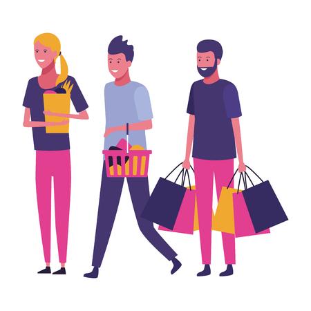 Diseño gráfico del ejemplo del vector de la historieta del concepto de las compras de la gente casual