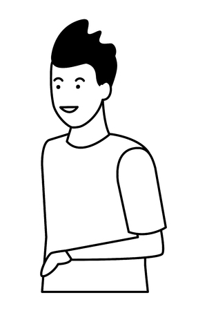 young man upper body cartoon vector illustration graphic design