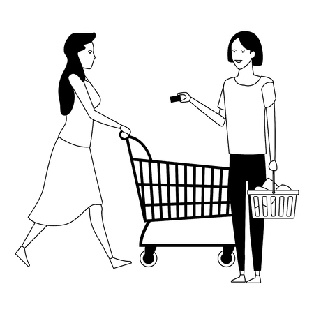 casual people women shopping concept cartoon vector illustration graphic design