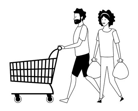 amore coppia shopping concetto fumetto illustrazione vettoriale graphic designgiovane uomo cartoon