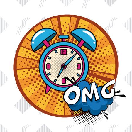 Pop art alarm clock omg cartoons vector illustration graphic design Illustration