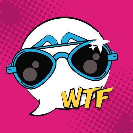 Pop art fashion sunglasses wtf cartoons vector illustration graphic design Ilustración de vector