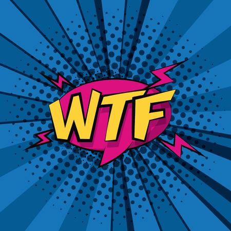 Pop art wtf cartoons colorful striped background vector illustration graphic design