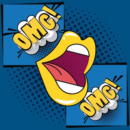 Pop art mouth oh my god cartoons  vector illustration graphic design