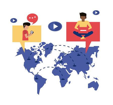 Worldwide delivery customer smartphone online order vector illustration graphic design Standard-Bild - 124849410