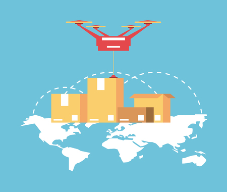 Worldwide delivery online orders drone with boxes vector illustration graphic design Standard-Bild - 124849411