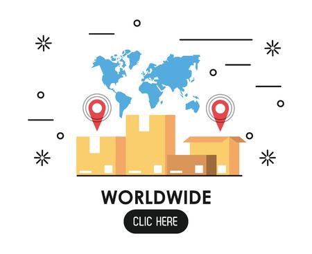 Worldwide click here web banner vector illustration graphic design Standard-Bild - 124849413