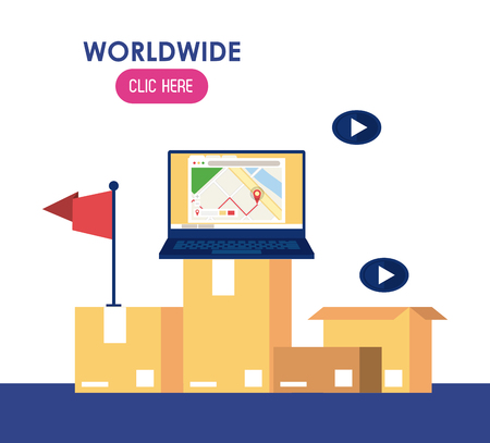 Worldwide delivery click here website banner vector illustration graphic design