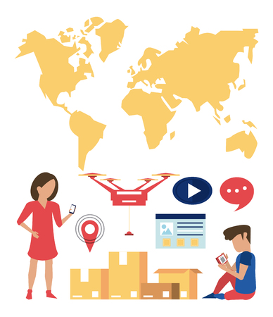 Delivery worldwide online order icons collection vector illustration graphic design Çizim
