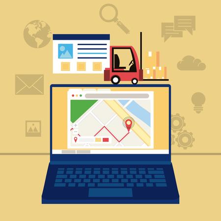 Delivery worldwide online order vector illustration graphic design