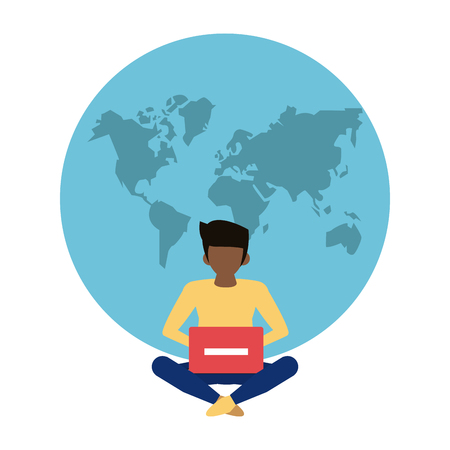 Worldwide delivery online orders man with laptop and world vector illustration graphic design