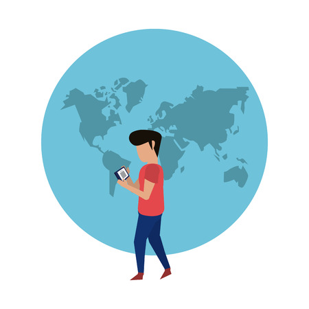 Worldwide delivery customer smartphone online order vector illustration graphic design Çizim