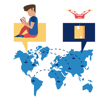 Worldwide delivery online orders man with smartphone seated on map vector illustration graphic design