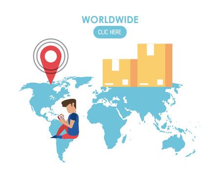 Worldwide click here web banner vector illustration graphic design