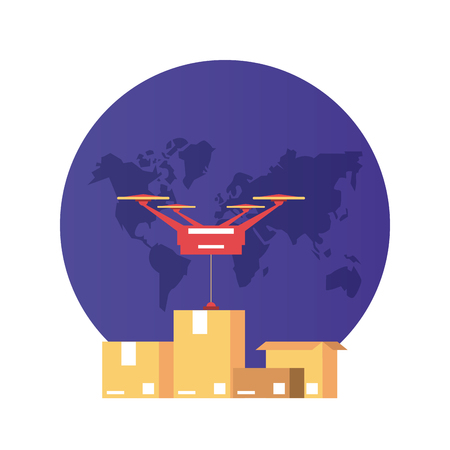 Worldwide delivery online orders world with drone and boxes vector illustration graphic design