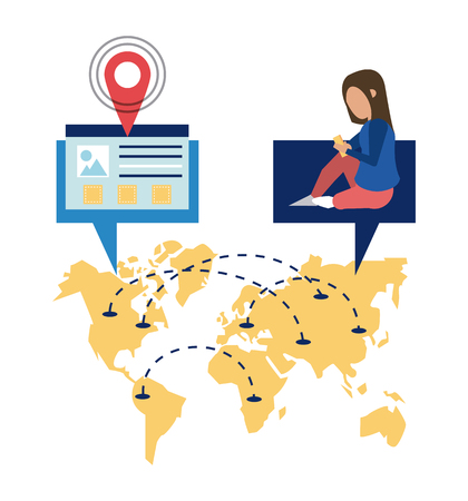 Worldwide delivery online orders world map with customer and website vector illustration graphic design Çizim