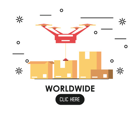Worldwide click here web banner drone and boxes vector illustration graphic design Çizim
