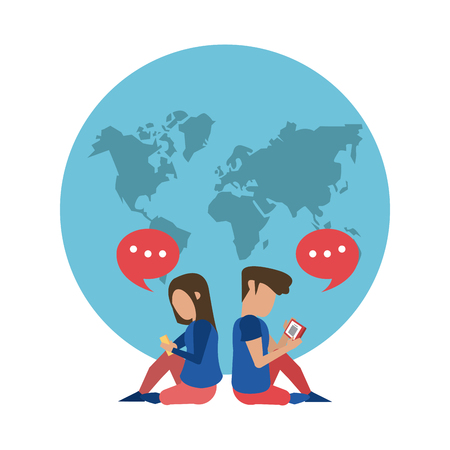 Worldwide delivery online orders world with people using smartphones vector illustration graphic design