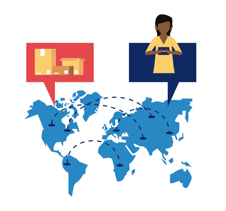 Worldwide delivery online orders customer and boxes on map vector illustration graphic design Çizim