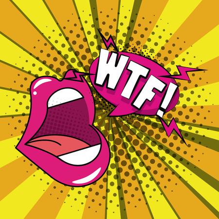 Pop art mouth wtf cartoons  vector illustration graphic design Illustration