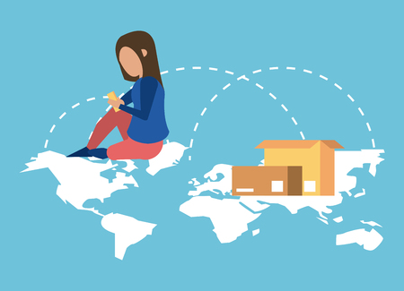 Worldwide delivery online orders woman seated on map with smartphone vector illustration graphic design Çizim