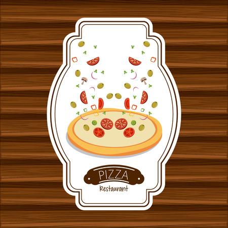 Pizza restaurant fast food poster wooden background vector illustration graphic design Illustration