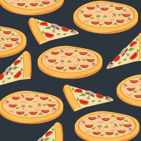 Pizza background pattern cartoons vector illustration graphic design