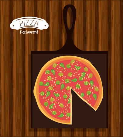 Pizza and ingredients restaurant poster wooden background vector illustration graphic design Illustration