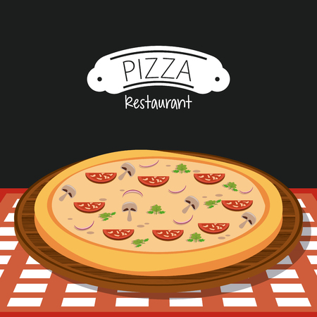 Pizza and ingredients restaurant poster vector illustration graphic design