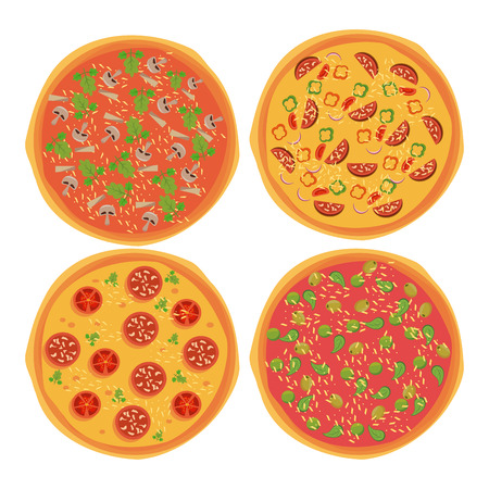 Pizza and ingredients set icons topview vector illustration graphic design Illustration