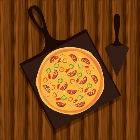 Pizza italian food over wooden background vector illustration graphic design