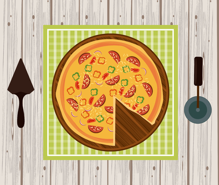 Pizza fast food with utensils on table cartoon vector illustration graphic design