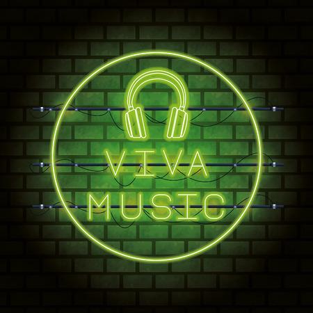 Disco party neon lights advertising bricks background vector illustration graphic design